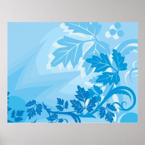 Sea Blue Modern Leaf and Vine Poster