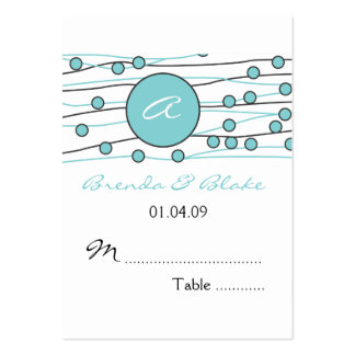 Sea Blue Monogram Wedding Table Seating Cards Business Card Templates