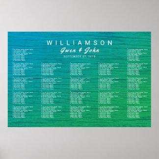 Sea Blue n Green Wedding Reception Seating Chart Poster
