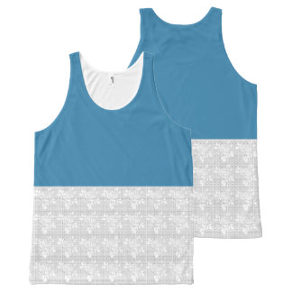 Sea-Blue-Stylish-Floral-Ecru-Lace(c)-Tank-Top All-Over Print Singlet