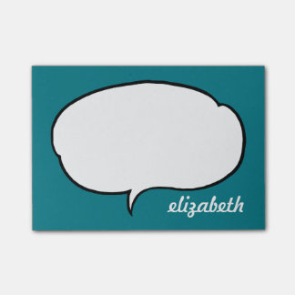 Sea Blue Talk Bubble Personalized Name Post-it Notes
