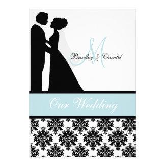 Sea Blue Wedding Couple Wedding Invitation