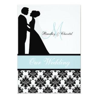 "Sea Blue Wedding Couple Wedding Invitation 5"" X 7"" Invitation Card"