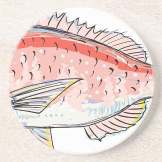 Sea Bream Red Sketch Drink Coaster
