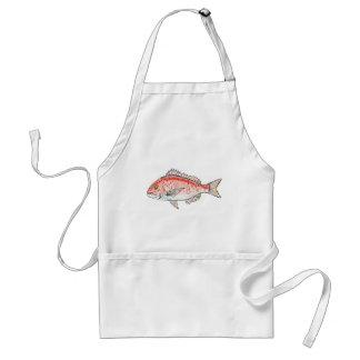 Sea Bream Red Sketch Standard Apron