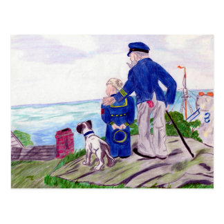Sea Captain and Young Grandson Postcard