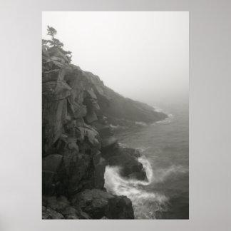 Sea Cliffs in White Mist Poster