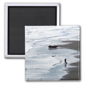 Sea coming to shore at dusk square magnet