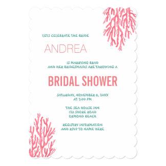 Sea Coral n Blue Text Bridal Shower Card