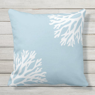 Sea Coral Silhouettes (Coastline Blue) Outdoor Cushion