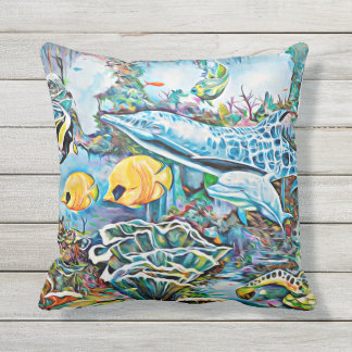 Sea Creatures Beach House Bath Outdoor Pillow
