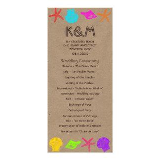 Sea Creatures Beach Wedding Programs Rack Card