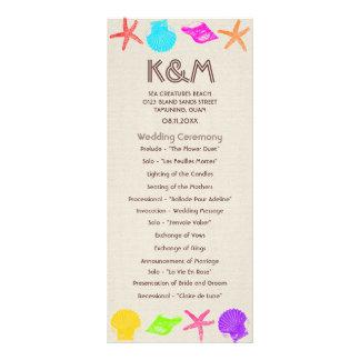 Sea Creatures Beach Wedding Programs Personalized Rack Card