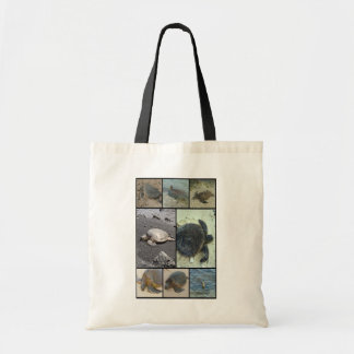 Sea creatures collage print tote bags