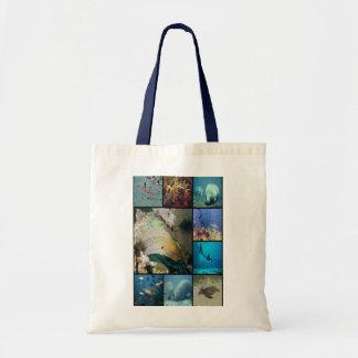 Sea creatures collage print tote bag