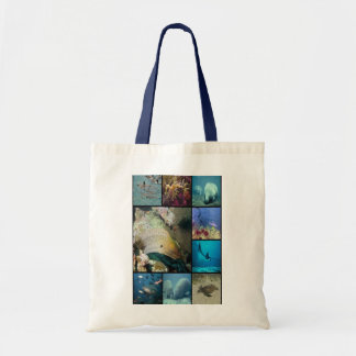 Sea creatures collage print budget tote bag
