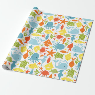 Sea Creatures Nautical Wrapping Paper