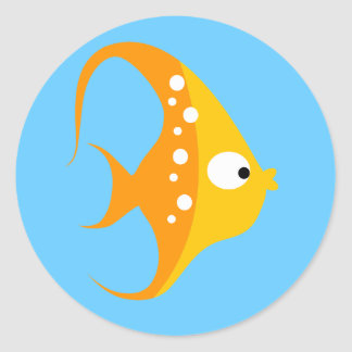 SEA CRITTERS ANGEL FISH Envelope Seals / Toppers Round Sticker