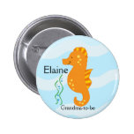 SEA CRITTERS SEAHORSE NAME TAG Personalised Button