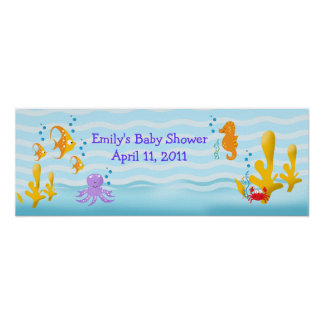 Sea Critters Sealife Customizable Birthday Banner Poster