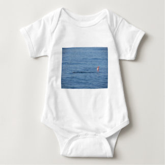 Sea diver in scuba suit swim in water baby bodysuit