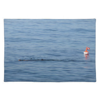 Sea diver in scuba suit swim in water placemat
