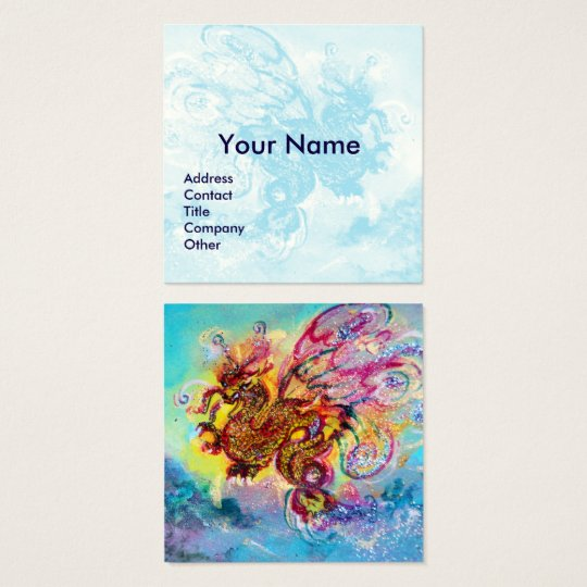 SEA DRAGON AND BLUE WAVES Fantasy Square Business Card
