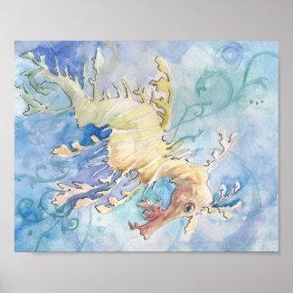 Sea Dragon watercolor painting Poster