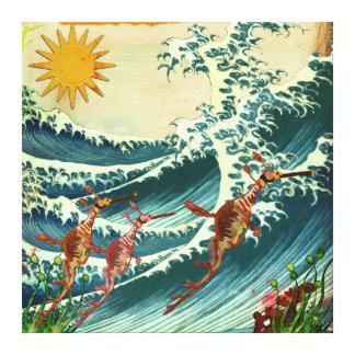 Sea Dragons Rough Water Canvas