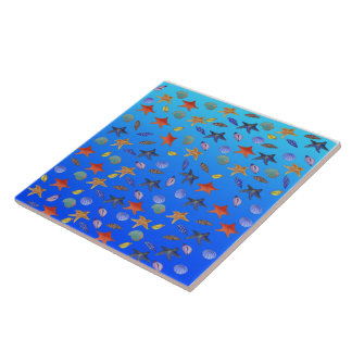 Sea Fantasy by The Happy Juul Company Large Square Tile