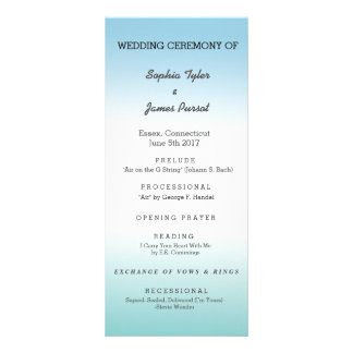 Sea Foam and Blue Wedding Program 10 Cm X 23 Cm Rack Card