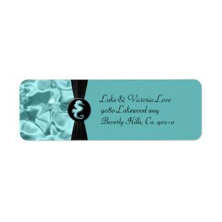 Sea Foam Beach Seahorse Elegant Wedding Return Address Label