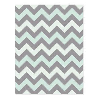 sea foam blue zig zag pattern postcard