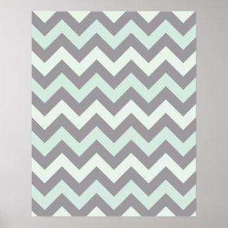 sea foam blue zig zag pattern poster