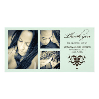 SEA FOAM FORMAL COLLAGE | WEDDING THANK YOU CARD PICTURE CARD
