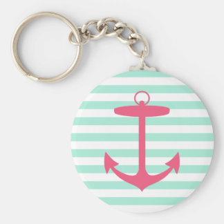 Sea Foam Green and Pink Anchor Basic Round Button Key Ring