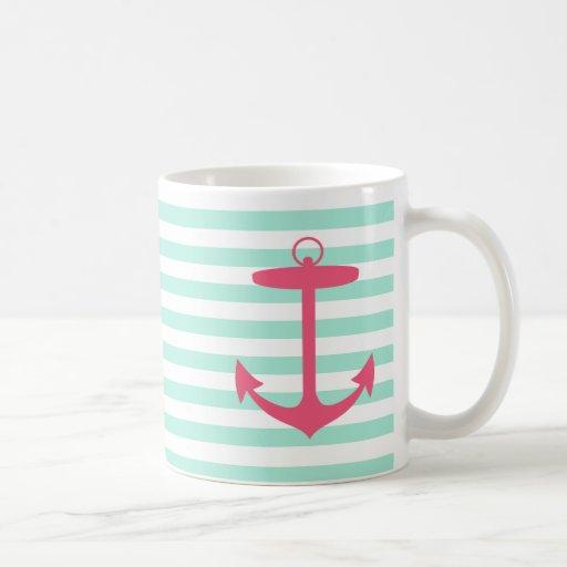 Sea Foam Green and Pink Anchor Coffee Mug