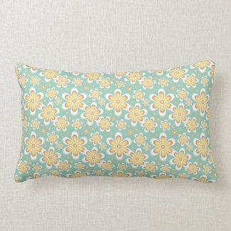 Sea Foam Green and Yellow Flower Pattern Pillow