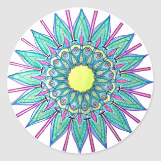 Sea Foam Green Mandala Star Stickers
