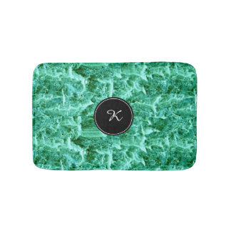 Sea Foam Green Pattern with White Monogram Initial Bath Mats