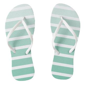 Sea Foam Green Stripe Shades Thongs