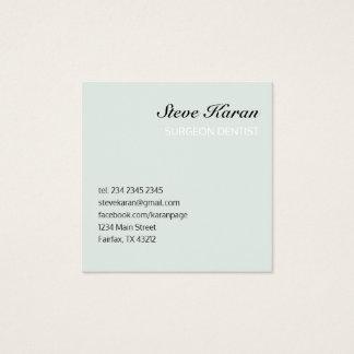Sea Foam Minimal Professional Dentist Square Business Card