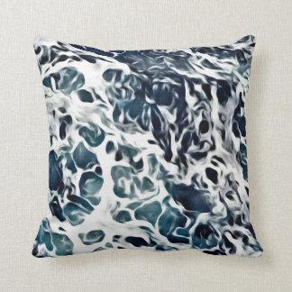 SEA FOAM WAVES, Blue & White Throw Pillow