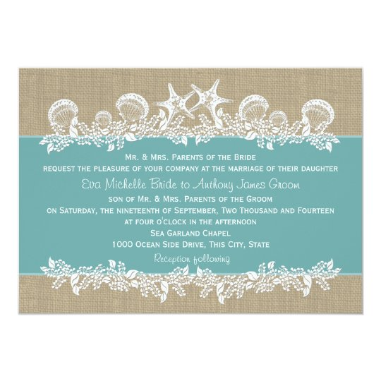 Sea Garland Teal Wedding Card
