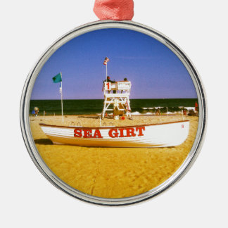 Sea Girt Lifeguard Boat Silver-Colored Round Decoration