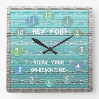 Sea Glass Beach Driftwood Look Ocean Beach Time Square Wall Clock