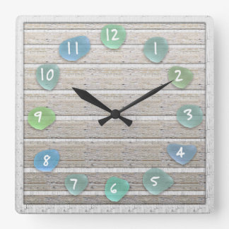 Sea Glass Beach Driftwood Look Square Wall Clock
