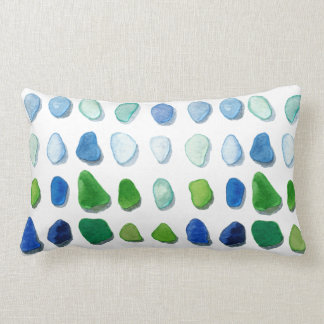 Sea glass, beach glass art lumbar pillow