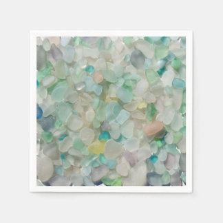 Sea glass, beach glass art photo napkins disposable napkin