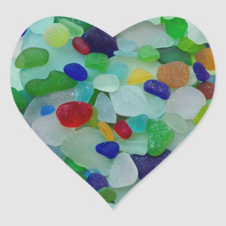Sea glass, beach glass, heart stickers